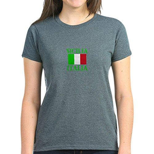 CafePress Sicilia, Italia Women's Dark T Shirt Womens Cotton T-Shirt Charcoal Heather