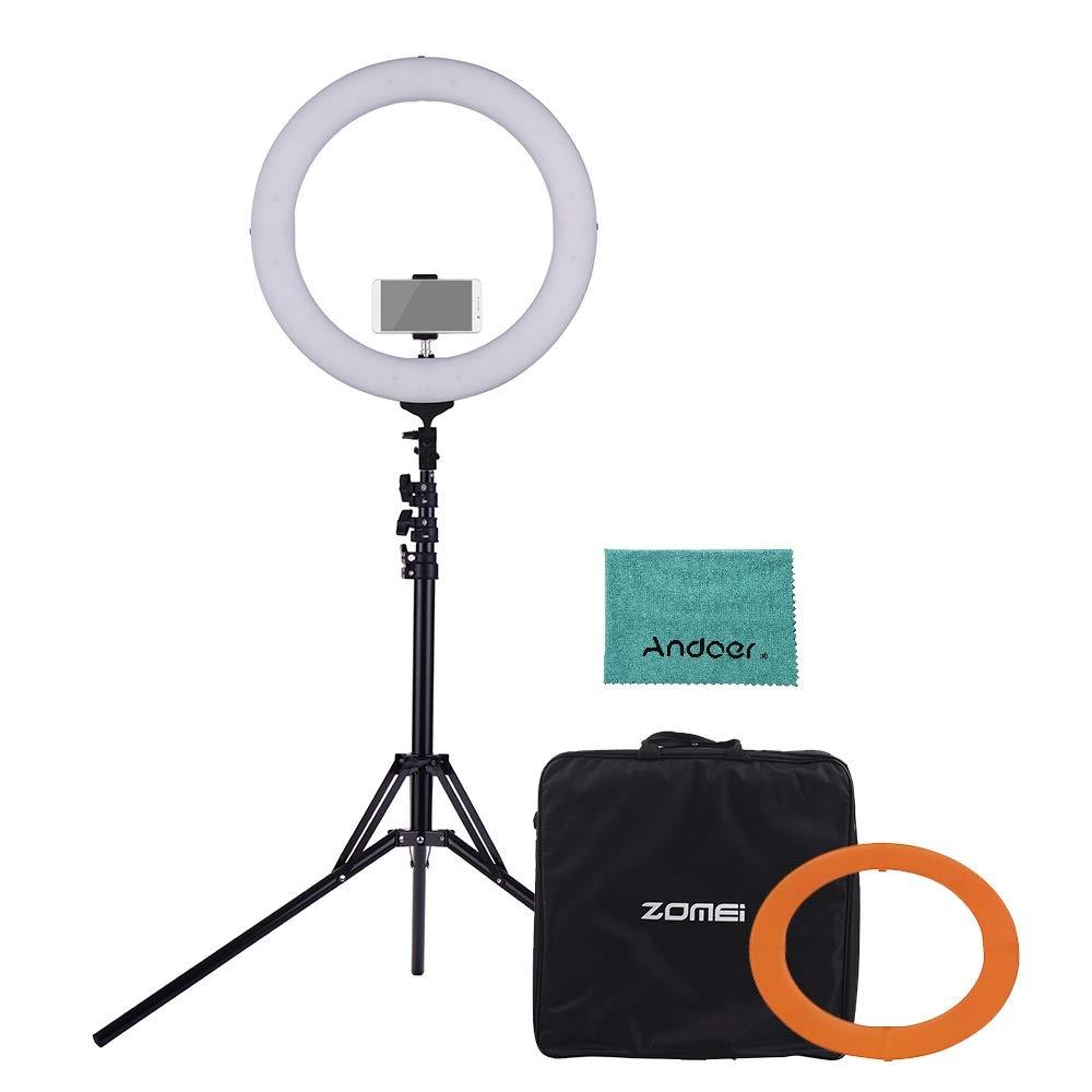 ZOMEI 18インチ LEDリングライト 5500Kモノカラー 調光可能 CRI 90+ オレンジカラーフィルター付きミニボールヘッド ホンホルダー キャリングバッグ ライトスタンド(折りたたみ49cm)付き Andoerクリニングクロス付き 結婚式 ポートレート写真 ライブ 美人セルフ ビデオ撮影用   B07L4LGDYC