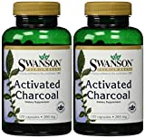 Swanson Premium Brand Activated Charcoal 260mg -- 2 Bottles each of 120 Capsules