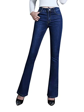 621d472b1560a6 Gooket Womens Shaping Bootcut Jean with Slight Whiskering Washed Dark Blue  Denim Pants Tag 27-