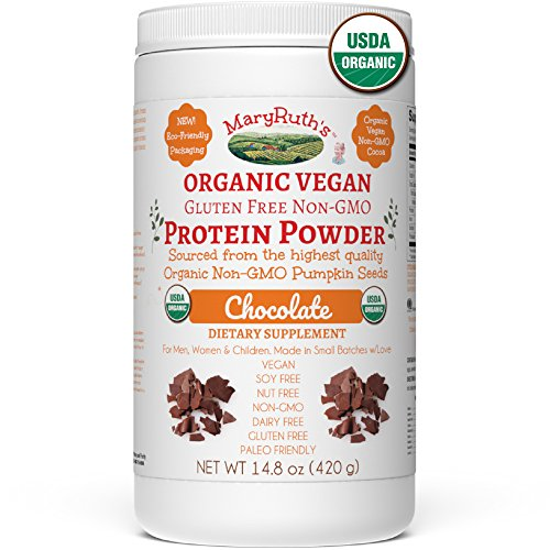 ORGANIC PROTEIN POWDER Plant-Based Creamy Chocolate Fudge by MARYRUTH Vegan, Gluten Free, Non-GMO, Soy Free, Dairy Free, Nut Free, No Fillers, No Additives, Paleo Friendly 14.8 oz For Men Women