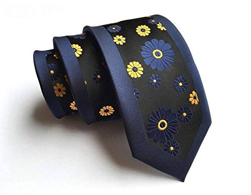[Jacob AleX #47227 Costume Blue Black Flowers JACQUARD WOVEN Necktie] (Flower Zombie Costumes For Girls)