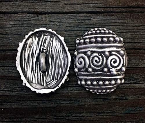 2 Primitive Oval Pewter Buttons 1 1/4 Inch (32 mm)