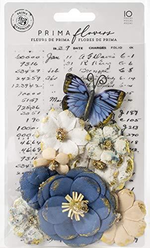 (Prima Marketing 636685 Georgia Blues Mulberry Paper Flowers 10/Pkg-Madison)