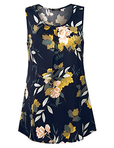 Laksmi Work Wear for Women, Ladies Summer Sleeveless Elegant Business Floral Print Solid Chiffon Blouse Round Neck A Line Tunic Tank Tops,Bule M from Laksmi