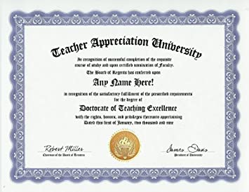 custom certificate of appreciation  Amazon.com: Teacher Appreciation Teaching Excellence Degree ...