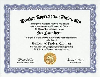 Amazon teacher appreciation teaching excellence degree custom teacher appreciation teaching excellence degree custom gag diploma doctorate certificate funny customized joke gift yelopaper Gallery