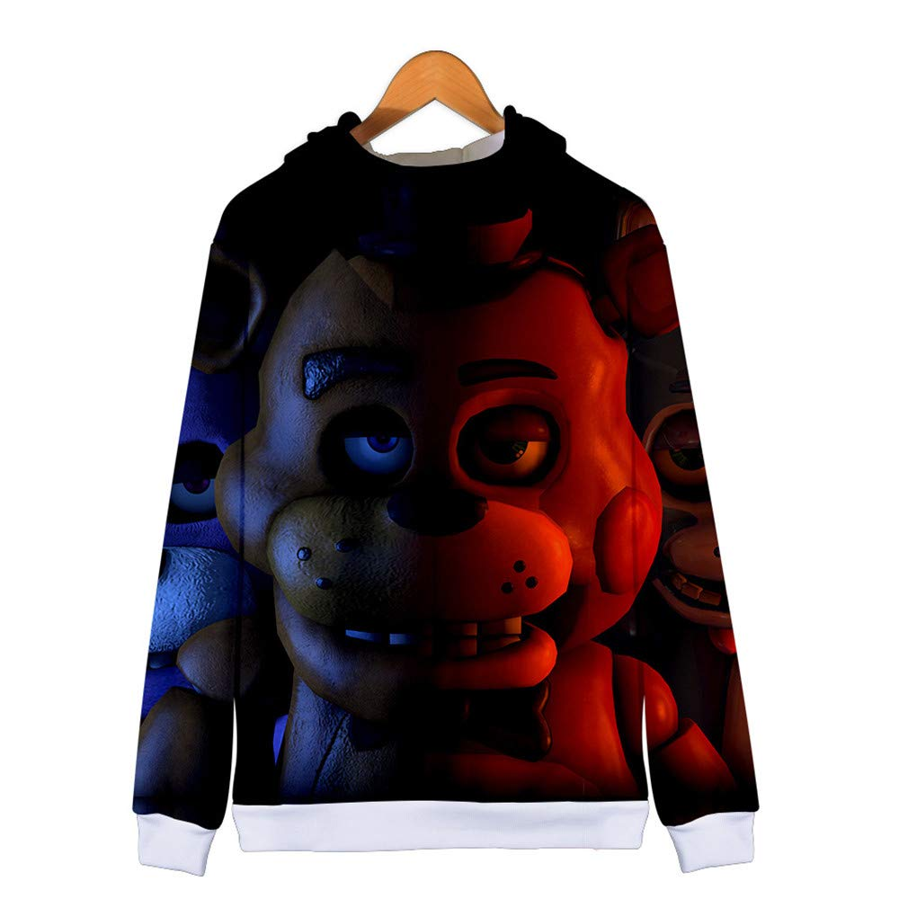 Costume di Ruolo HHNN Felpa con Cappuccio per Adulti con Cerniera da 2 A 13 Anni Stampa 3D Ragazzo E Ragazza Five Nights At Freddys Cartoon Abbigliamento Casual per Bambini