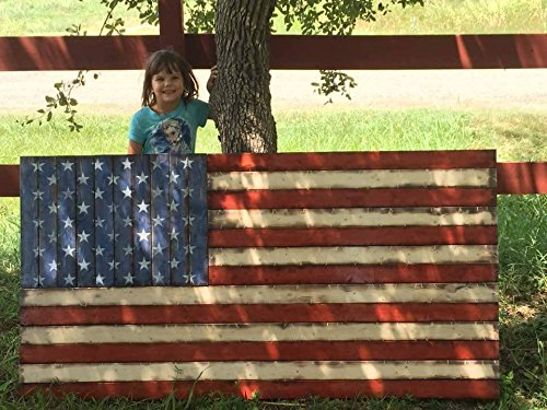 Large Rustic-Style Wooden American Flag (32''x58'') by Cowboy Capital Rustic Signs