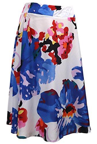 Women Vintage Midi Skirt High Waisted Floral Printing A-Line Street Skirt