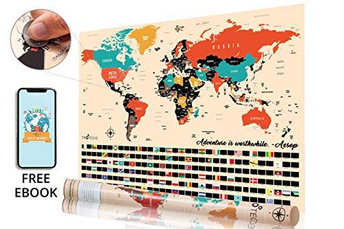 TIROTECHS Scratch Off Map - New Scratch Off World Map -Best Scratch Off Map of The World - Scratch Map - World Map Scratch Off Travel Map-E Book Included