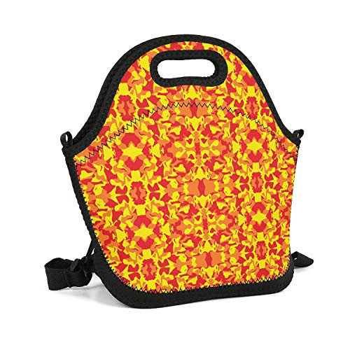SHIWERJHC Orange Camo Flame Neoprene Lunch Tote Casual Insulated Thermal Reusable Lunch Bag Box for Women Men Child School Work Outside Picnic ()