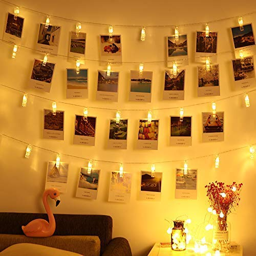 - LED Photo String Lights-Magnoloran 20 Photo Clips Battery Powered Fairy Twinkle Lights, Wedding Party Home Decor Lights for Hanging Photos, Cards and Artwork (7.2 Feet, Warm White)