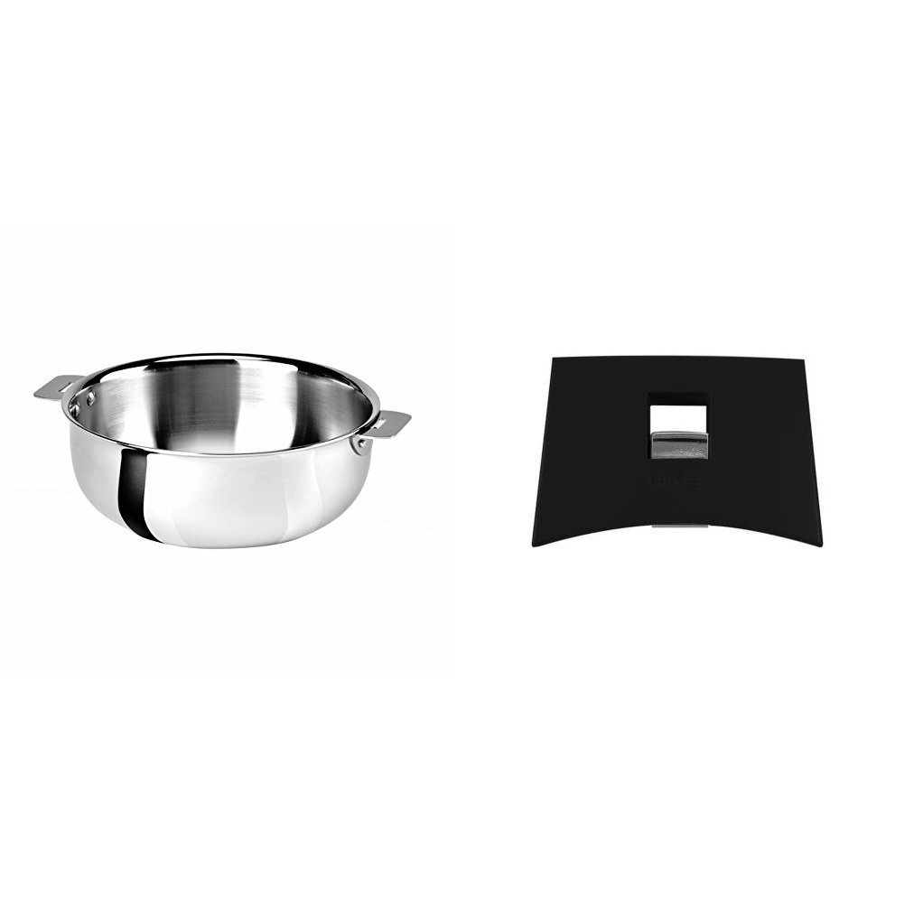 Cristel SR22QMP Saucier, Silver, 3 quart with Cristel Mutine Plman Side Handle, 1'', Black