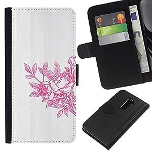 Primavera Arte lavado blanco gris- la tarjeta de Crédito Slots PU Funda de cuero Monedero caso cubierta de piel Para LG G2 D800