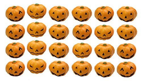 Curious Minds Busy Bags Bulk 24 Jack-O-Lantern Pumpkin Party Favor Stress Balls, Small Novelty Toy Prize Assortment for Birthday Halloween Party -