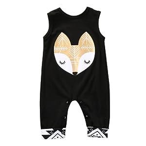 Longra Mode Coton Bébé Print Romper Jumpsuit Vêtements Outfits