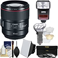 Canon EF 85mm f/1.4L IS USM Lens with Flash + 3 UV/CPL/ND8 Filters + Soft Box + Diffuser + Kit