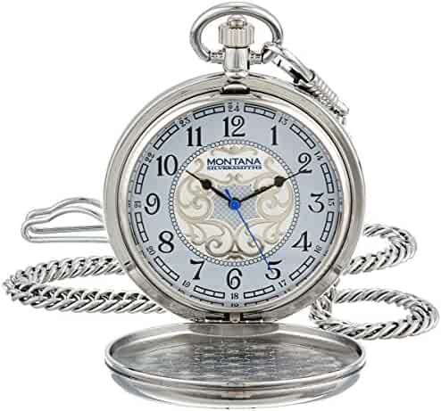 Montana Silversmiths WCHP41-447S Montana Time Analog Display Quartz Pocket Watch