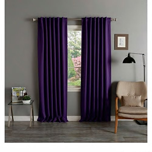 Cheap PH 2 Piece Eggplant Purple Blackout Thermal Curtain Panel Pair Solid Insulated Heat & Cold Casual Stylish Rich Color Home Window Cover Blocks Noise Sun and Keeps Room Cool Better Than Blinds