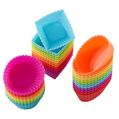 36 Pcs Reusable Silicone Cupcake Liners/ Muffin baking Cups, 3 Shapes with Vibrant Colors, Nonstick and Heat Resistant Cake Molds, by -