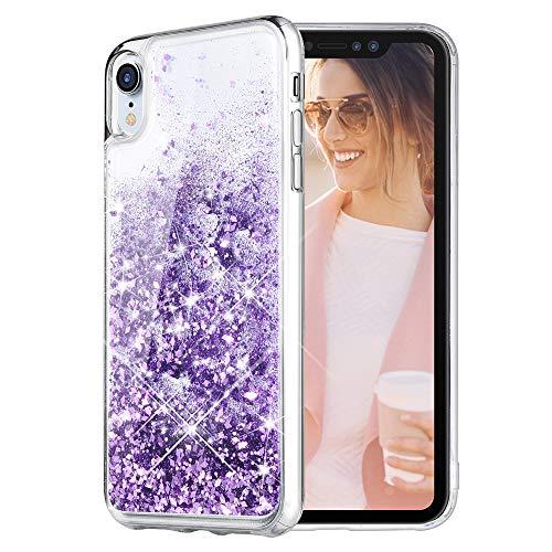- Caka iPhone XR Case, iPhone XR Glitter Case [Liquid Series] Sparkle Fashion Bling Luxury Flowing Liquid Floating Cute Glitter Soft TPU Clear Case for iPhone XR - (Purple)
