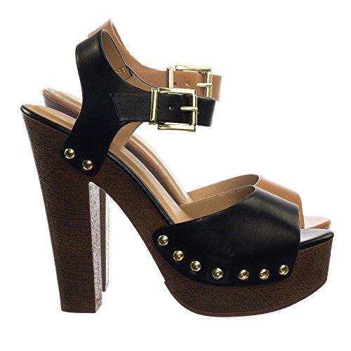Delicious Retro 70s Lightweight Sculpted Faux Woodgrain Clog Block Heel Sandal Black Pu