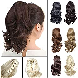 "12"" Claw Ponytail Extension Short Curly Clip in Hairpiece with Jaw/Claw Synthetic Fluffy Pony Tail One Piece for Women(12"" Curly,Medium Brown)"