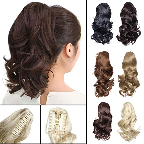 "12"" Claw Ponytail Extension Short Curly Clip in Hairpiece with Jaw/Claw Synthetic Fluffy Pony Tail One Piece for Women12quot CurlyDark Brown"