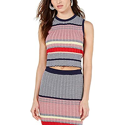 Lucy Paris Kylie Striped Sleeveless Cropped Sweater (X-Small) at  Women's Clothing store