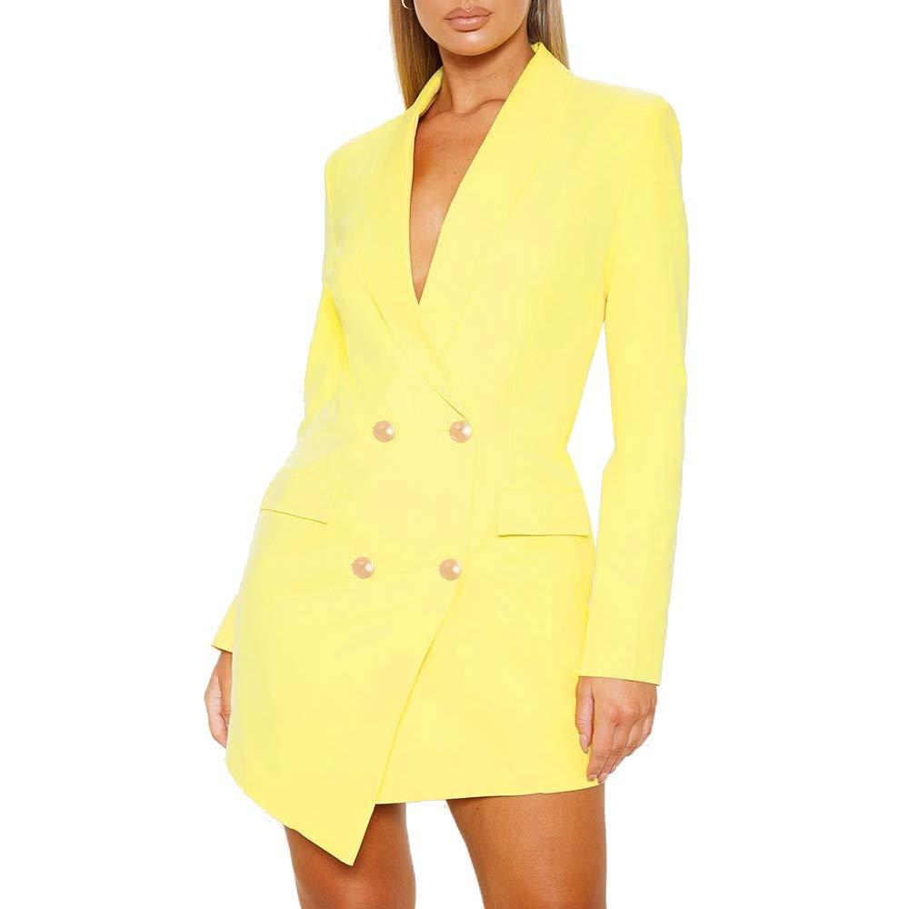Puimentiua Womens Double Breasted Blazer Lapel Collar Long Sleeve Office Suit Jacket Mini Dress
