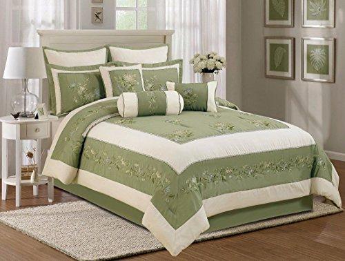 7Pcs Olive Soft Microfiber Embroidery Chrysanthemum Comforter Set King
