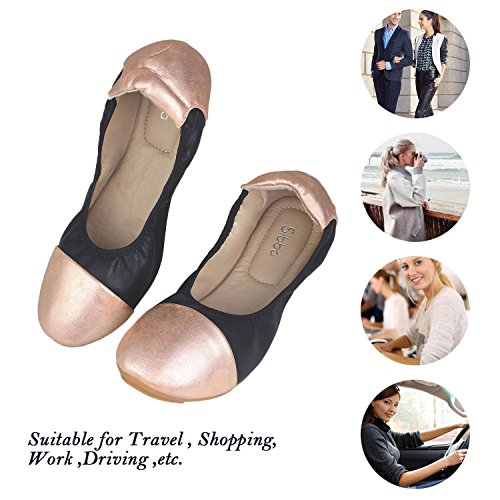 Ballet Ballerina Flats Flat Causal Soft Comfort Womens Shoes on Slip Sibba Black qUwCSS