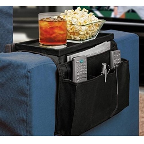 6 Pockets TV Remote Control Organizer, Home Sofa Console Folding Table Slipcover Drapes Over Arm Caddy Holder Desk Chair Armrest Hanging Storage Bag for Cellphone,Tray,Tea Cup,Pen,Magazine& Snacks (Office Chair With Tray compare prices)