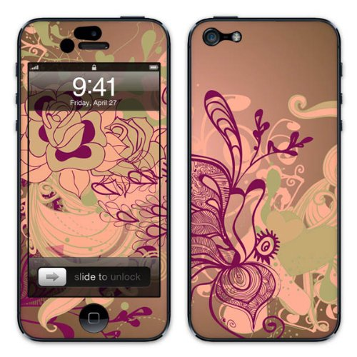 Diabloskinz B0081-0004-0048 Vinyl Skin für Apple iPhone 5/5S Floral grün/purple