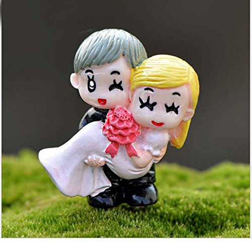 LU2000 Bonsai Minifigures Small Size Micro Figurines Statue Holding My Bride [Wedding Series] for Micro Landscape Desk Home Garden Aquarium Decoration Little Statue Mini Sclupture