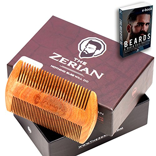 Beard Comb -Fine  Coarse Tooth – Handmade Genuine Sandalwood Brush for Hair – Smells Amazing – Anti-Static – For Stylish Beard  Mustache Grooming- B…