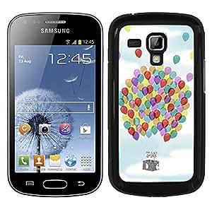 Funda carcasa para Samsung Galaxy Trend diseño cesta globo globos de colores borde negro
