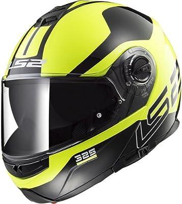 LS2 Casco de motocicleta Strobe Zona Hi Vis, Negro/Amarillo, Tamaño M