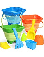 Castle Beach Buckets Folding Rubber Pails Set Large Sand Portable Multi Functions Pails Kit Easy Stock Tool Household Cleaning for Camping, Travelling, Fishing, Beach Toys,Car Window Washing