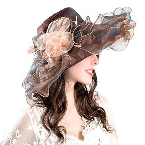 Easter Hat Boxes (Seven Flowers Wide Brim Tea Party Kentucky Derby Dress Hats Womens Easter Church Wedding Organza Hats (Metal Brown))