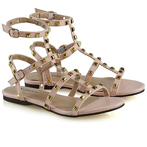 Tamaño planas abierta punta GLAM Sandalias Shoes Rivet Rosa 8 con ESSEX Womens Buckle Damas 3 Gladiator z7XxqqSp