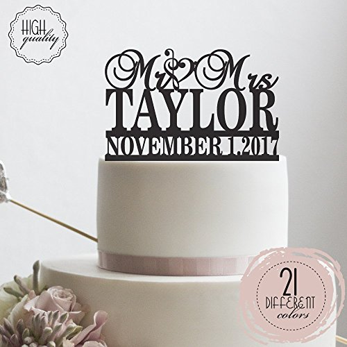 Clef Sign Personalized Wedding Cake Topper Mr Mrs Customized Cake Topper Music Symbol   Solid Color Cake Toppers ,Party (Music Centerpiece Ideas)