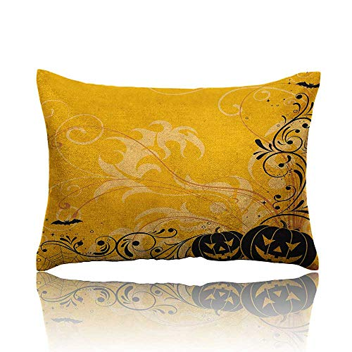 homehot Halloween Cool Pillowcase Carved Pumpkins with Floral