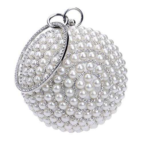 Tngan Womens Evening Bag Round Ball Wedding Handbag Artificial Pearl Purse…
