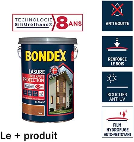 Lasure Haute Protection 8 Ans Bondex Chêne Naturel Satin 5l