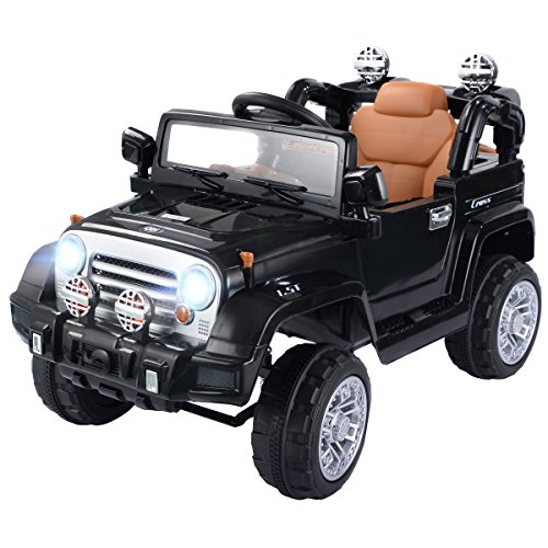 Costzon Ride On Jeep Car, 12V 2WD Powered Truck, Manual/ Parental Remote Control Modes Truck Vehicle Headlights, MP3 Port, Music, Horn Kids (Black Jeep)