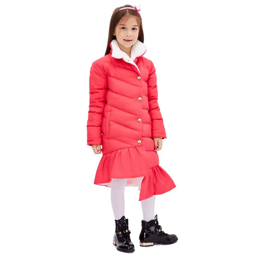 Rouge Clair 11-12  ans    150 SXSHUN Manteau Fille Enfant Doudoune Jupe à Volants Parka Rembourré Manches Longues Epais Chaud