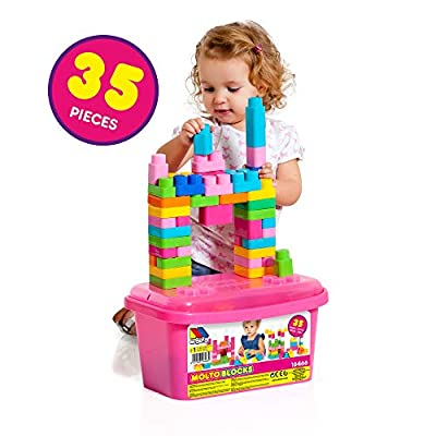 Molto 198782 - 35Piece Blocks Box, Pink: Toys & Games
