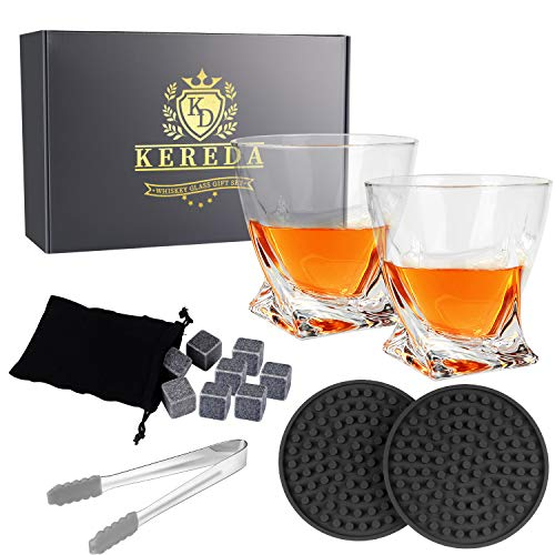 Whiskey Stones Gift Set - 2 Glasses, 8 Granite Scotch Chilling Rocks, 2 Coasters, Tongs, Velvet Pouch in Box Packaging ()